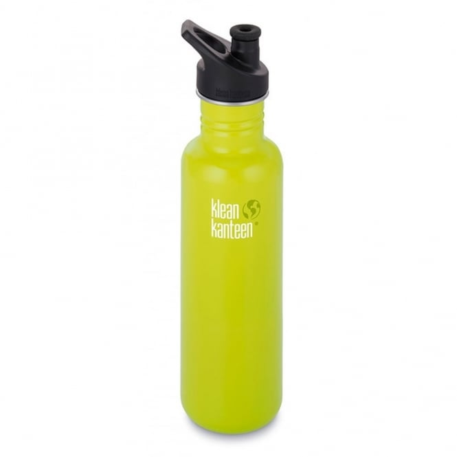 Klean Kanteen Classic 800ml Sports Cap Lime Pop, Stainless Steel Water Bottle great for on the move