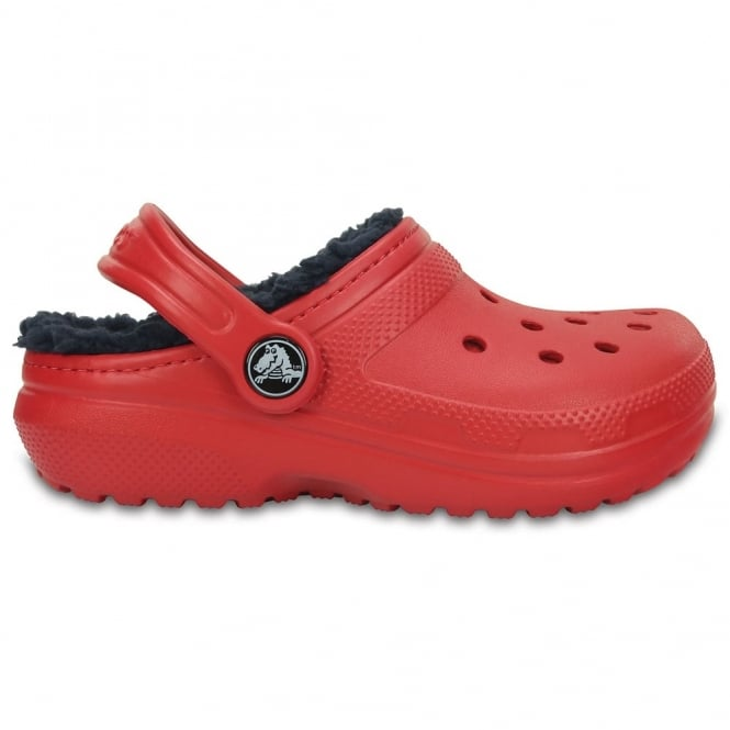 Crocs Kids Classic Lined Clog Pepper/Navy, all the comfort of the Classic Clog but with a warm fuzzy lining
