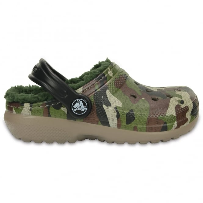 Crocs Kids Classic Lined Graphic Clog Green Camo, all the comfort of the Classic Clog but with a warm fuzzy lining