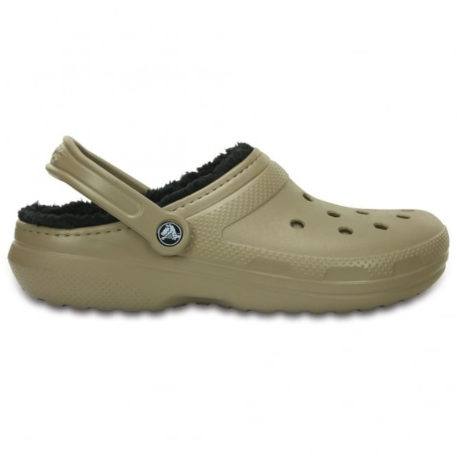 Crocs Classic Lined Pattern Clog Khaki/Black, all the comfort of the Classic Clog but with a warm fuzzy lining
