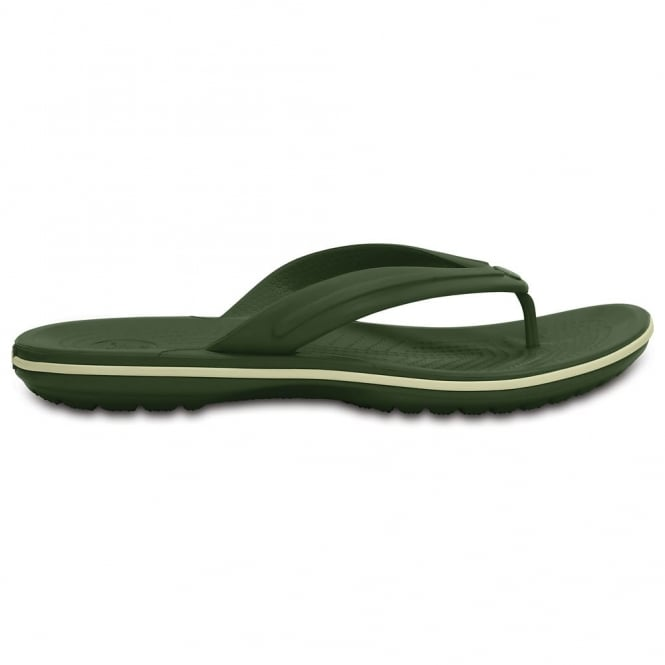 Crocs Crocband Flip Forest Green/Stucco, lightweight comfort with circulation nubs for blood flow stimulation