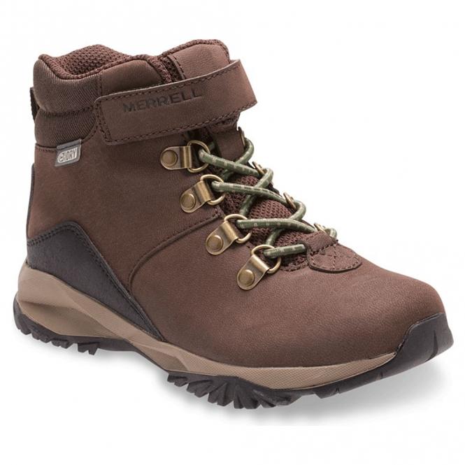 Merrell Kids Alpine Waterproof Boot Brown, fully waterproof, slip resistant  leather boot