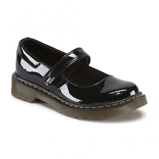 Dr Martens Maccy Patent Youth School MJ Patent Black, patent mary jane school shoe