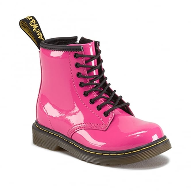 Dr Martens Brooklee Boot Pink Patent, the classic Dr Martens for tiny feet