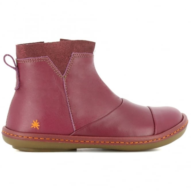 The Art Company A663 Kio Ankle Boot Cerise, zip up leather ankle boot
