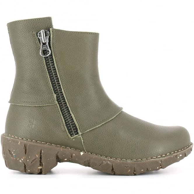 El Naturalista NE28 Yggdrasil Kaki, leather zip up ankle boot