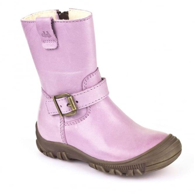 Froddo Waterproof Ankle Boot G3160057-6 Junior Purple, waterproof boot with buckle detail