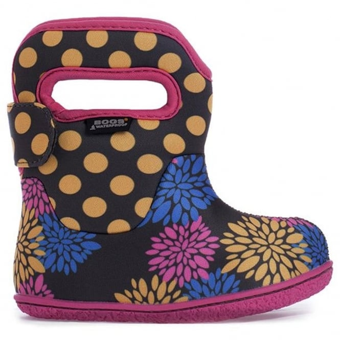 Bogs 720151 Infant Classic Pompons Dot Dark Gray Multi, 100% waterproof wellington boots with snuggly warm lining