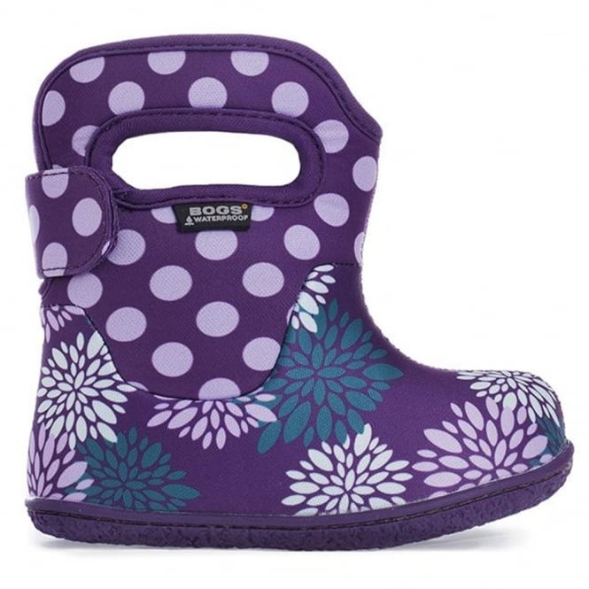 Bogs 720151 Infant Classic Pompons Dot Grape Multi, 100% waterproof wellington boots with snuggly warm lining