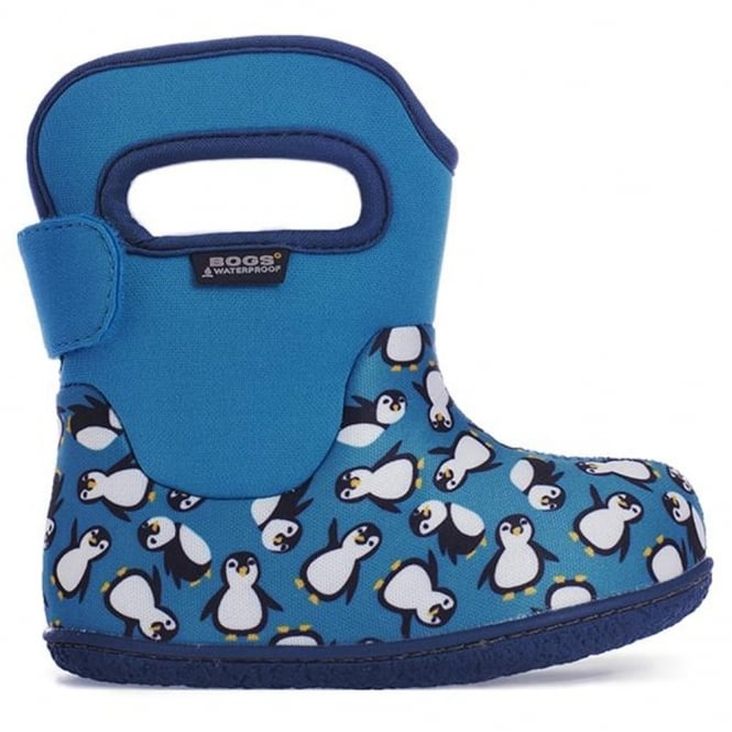 Bogs 720161 Infant Classic Penguins Turquoise Multi, 100% waterproof wellington boots with snuggly warm lining