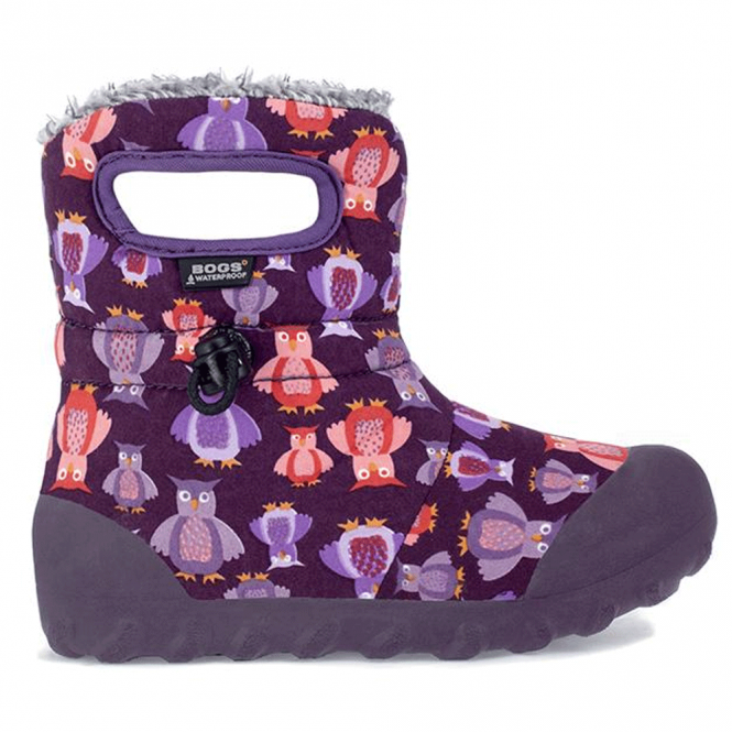 Bogs 72014 Junior B-Moc Puff Owl Purple Multi, 100% waterproof wellington boots with adjustable draw cord system