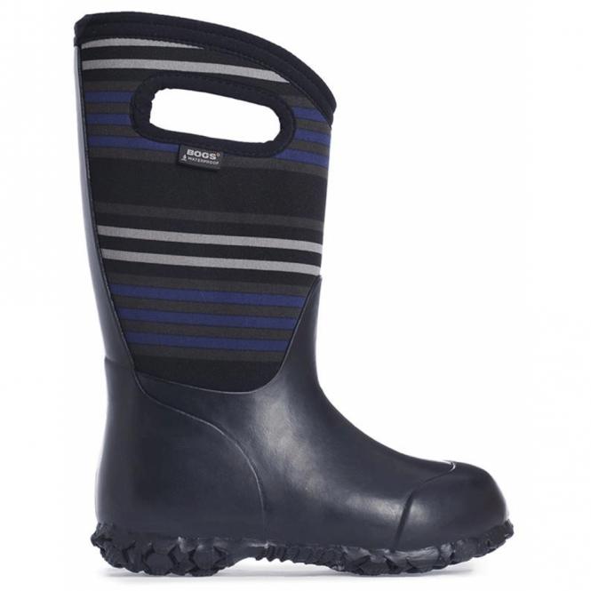 Bogs 72008 Durham Stripes Black, 100% waterproof wellington boots