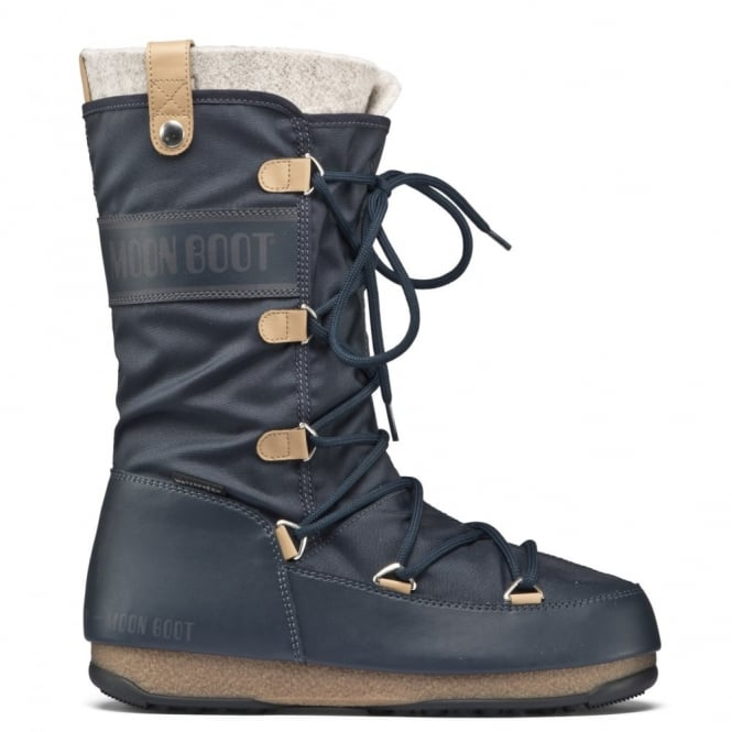 MoonBoot Moon Boots Monaco Felt Denim Blue, Waterproof Iconic Boot