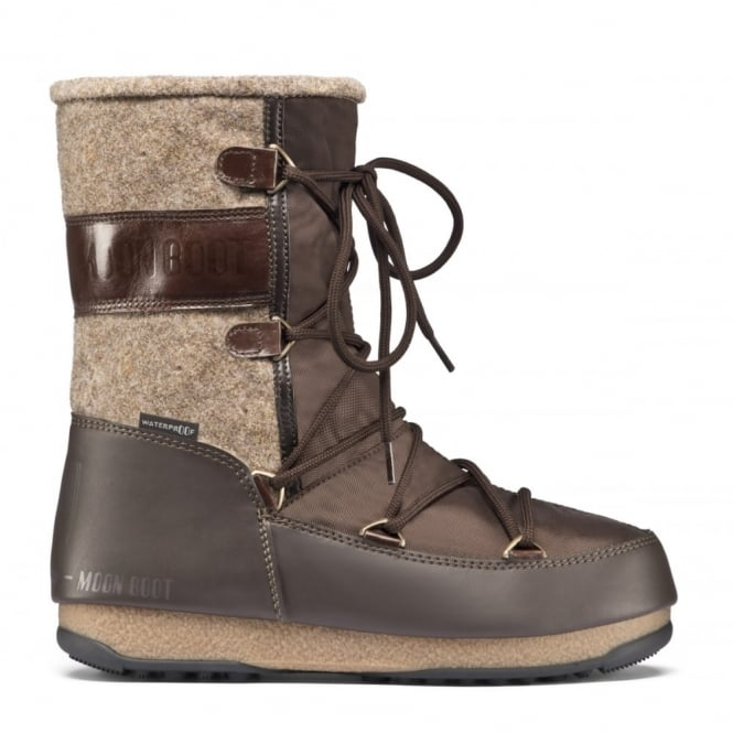 MoonBoot Moon Boots Vienna Felt Brown/Beige, Waterproof Iconic Boot