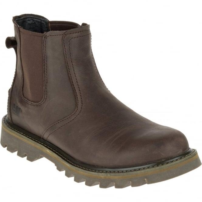 CAT Mens Stoic Dark Brown, mens leather slip on boot