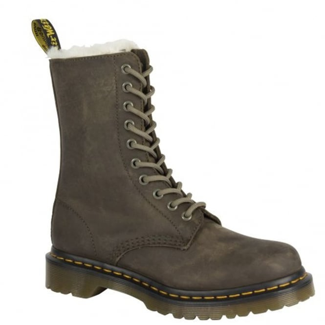 Dr Martens 1490 FL Boot Grenade Green, leather lace up boot