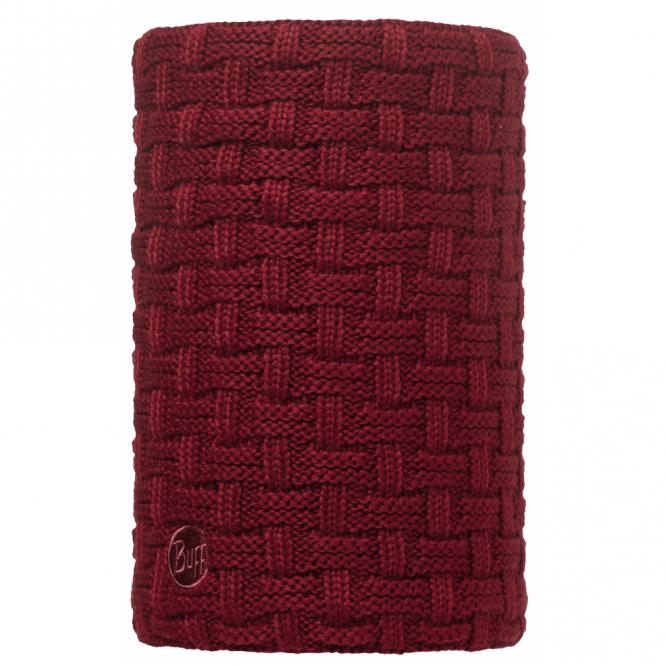 Buff Airon Polar Reversible Neckwarmer Wine/Black, chunky knit neckwarmer with fleece lining