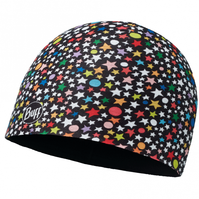 Buff Kids Microfiber & Polar Fleece Hat Atzare Black/Black, warm and soft hat with fleece lining