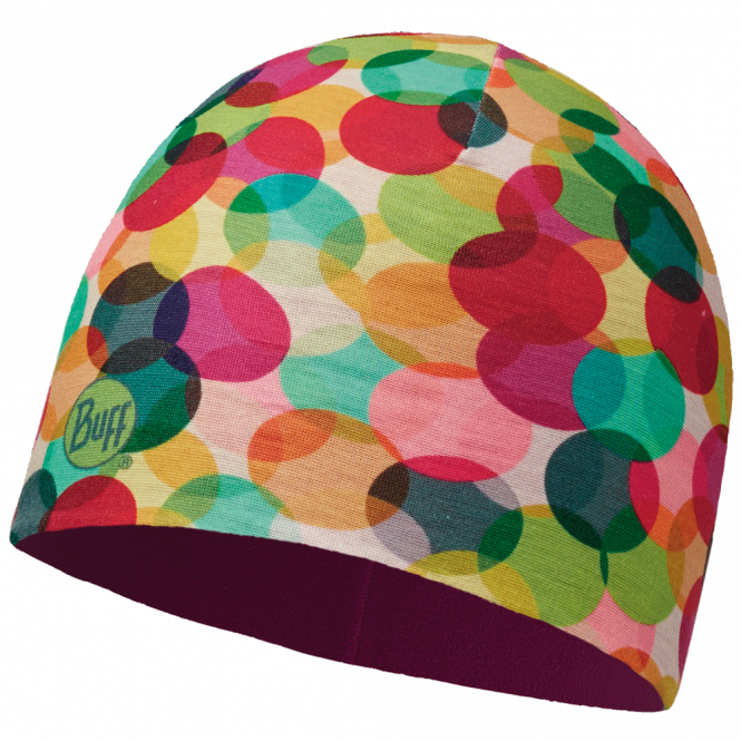 Buff Kids Microfiber & Polar Fleece Hat Blobs Multi/Mardi Grape, warm and soft hat with fleece lining