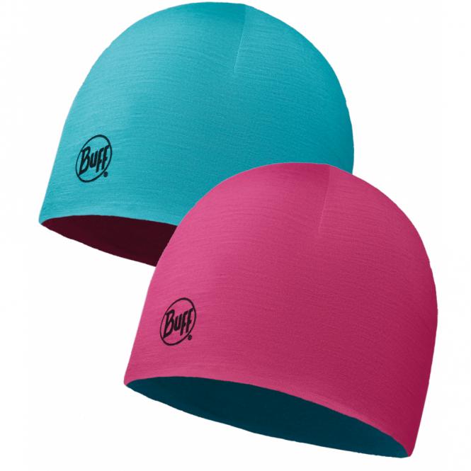 Buff Kids Merino Wool Reversible Hat Wild Pink/Bluebird, warm and soft reversible hat