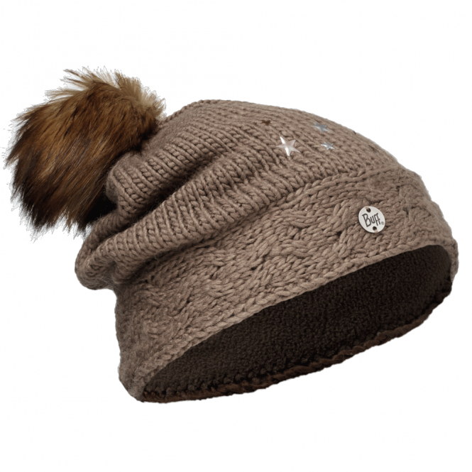 Buff Kids Darsy Knitted & Polar Fleece Hat Brown/Brown, warm and soft hat with fleece lining