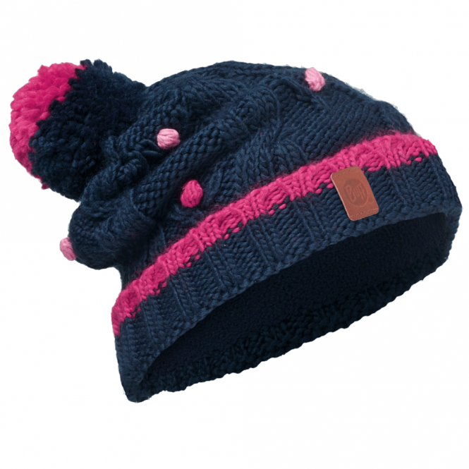 Buff Kids Dysha Knitted & Polar Fleece Hat Dark Navy/Navy, warm and soft hat with fleece lining