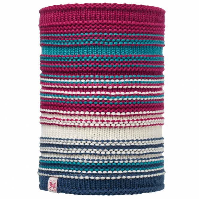 Buff Kids Amity Knitted & Polar Neckwarmer Pink Cerisse/Grey, warm and soft neckwarmer with fleece lining