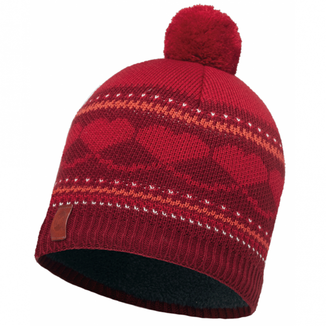 Buff Kids Twin Knitted & Polar Fleece Hat Suzy Wine/Grey, warm and soft hat with fleece lining