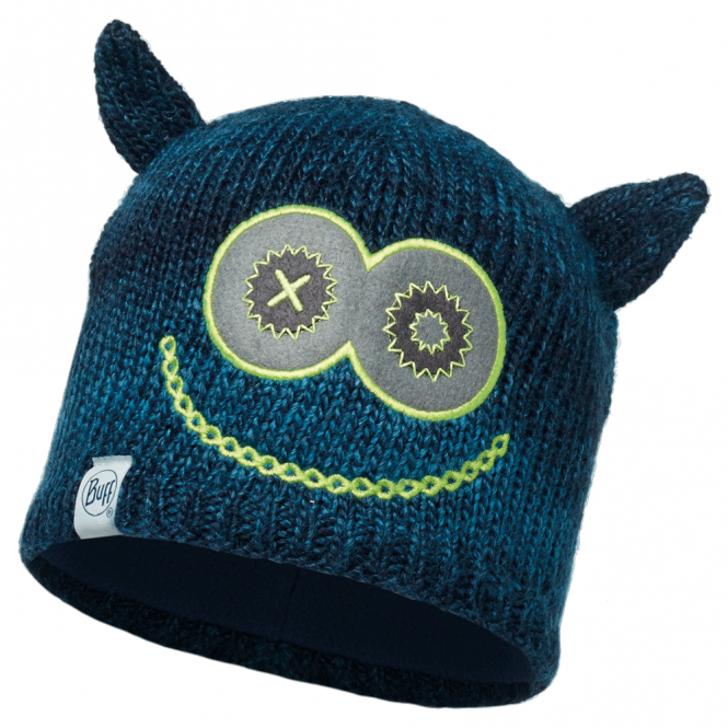 Buff Kids Monster Knitted & Polar Fleece Hat Jolly Dark Navy/Navy, warm and soft hat with fleece lining