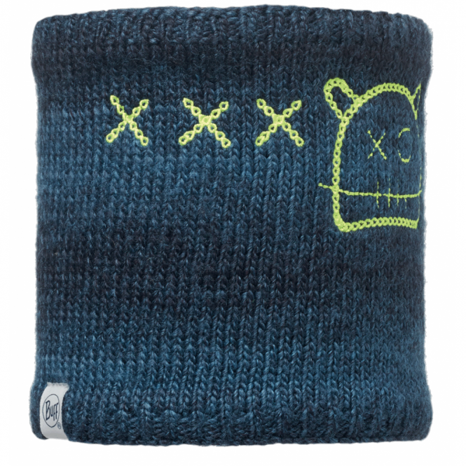 Buff Kids Monster Knitted & Polar Fleece Neckwarmer Jolly Dark Navy, warm and soft neckwarmer with fleece lining