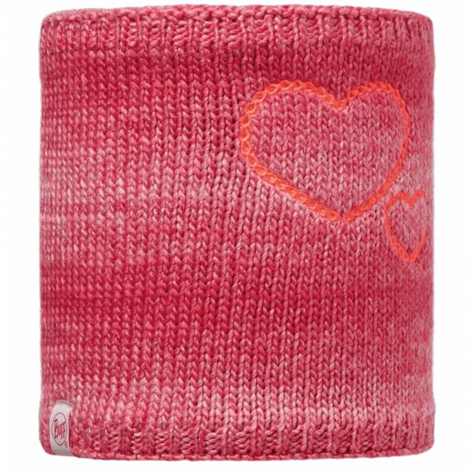 Buff Kids Monster Knitted & Polar Fleece Neckwarmer Merry Pink/Raspberry, warm and soft neckwarmer with fleece lining