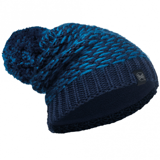 Buff Kirvy Knitted & Polar Fleece Hat Dark Navy/Navy, warm and soft hat with fleece lining