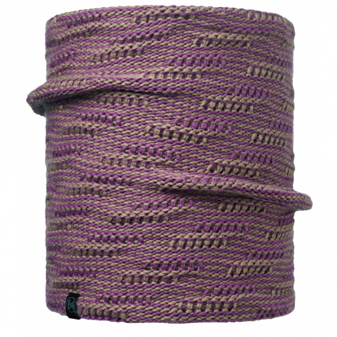 Buff Kirvy Knitted & Polar Fleece Neckwarmer Fossil/Brown, warm and soft neckwarmer with fleece lining