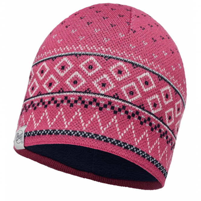 Buff Edna Knitted & Polar Fleece Hat Purple/Navy, warm and soft hat with inner fleece band
