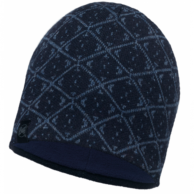 Buff Ardal Knitted & Polar Fleece Hat Dark Navy/Navy, warm and soft hat with inner fleece band