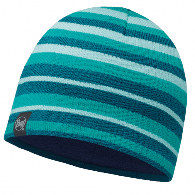 Buff Laki Stripes Knitted & Polar Fleece Hat Turquoise/Navy, warm and soft hat with inner fleece band