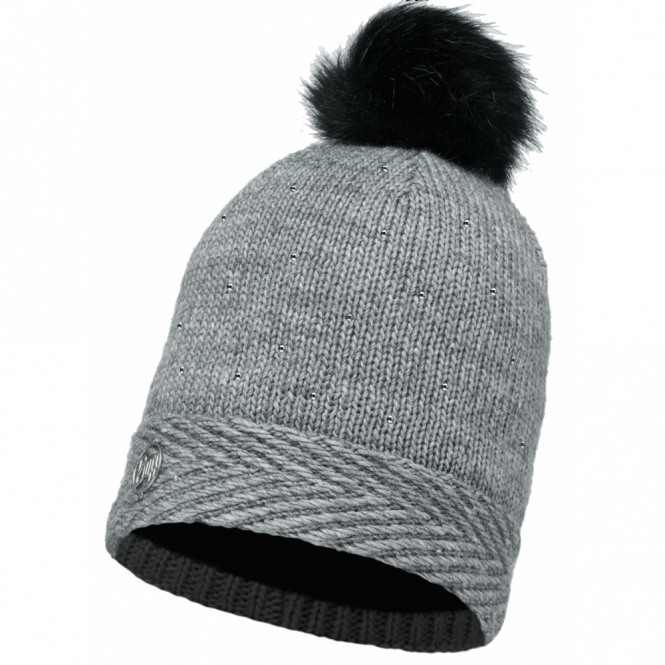 Buff Aura Knitted & Polar Fleece Hat Chic Grey/Grey, warm and soft hat with inner fleece band