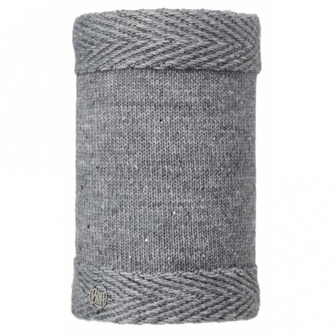 Buff Aura Knitted & Polar Fleece Neckwarmer Chic Grey/Grey, warm and soft neckwarmer with fleece lining
