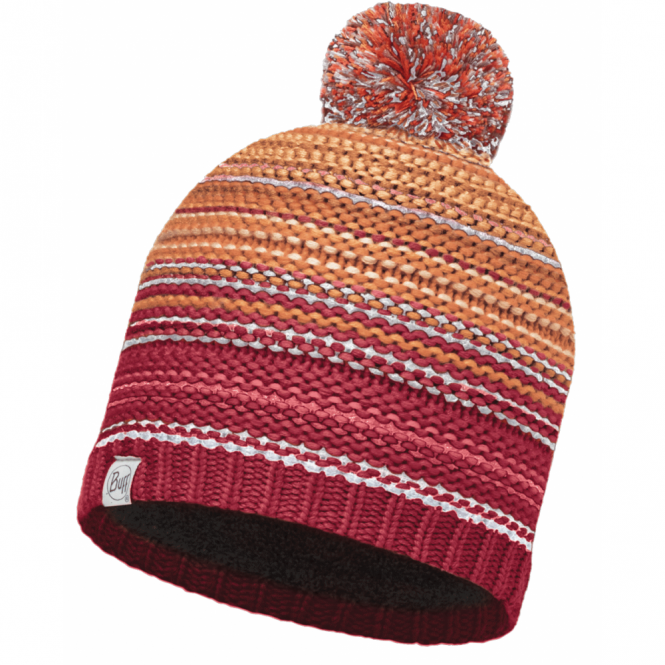 Buff Neper Hat Red Samba/Grey, warm and soft hat with inner fleece band