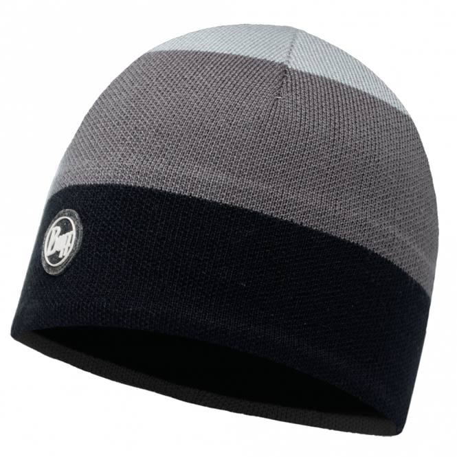 Buff Dalarna Knitted & Polar Fleece Hat Grey Castlerock/Black, warm and soft hat with inner fleece band