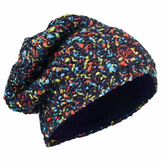Buff Yssik Knitted & Polar Fleece Hat Dark Navy, warm and soft hat with inner fleece band