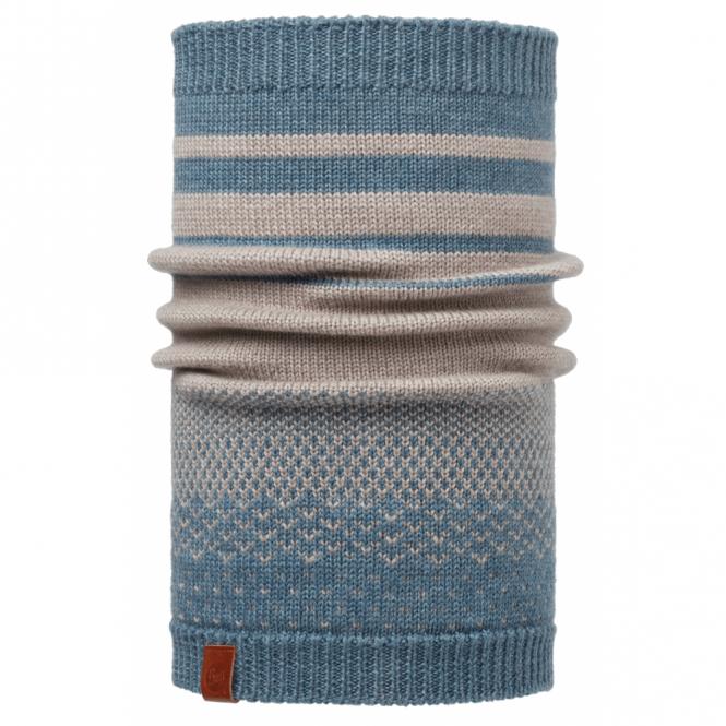 Buff Mawi Merino Wool Knitted Neckwarmer Stone Blue, warm and soft merino wool neckwarmer