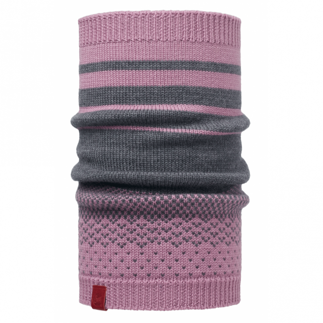 Buff Mawi Merino Wool Knitted Neckwarmer Lilac Shadow, warm and soft merino wool neckwarmer