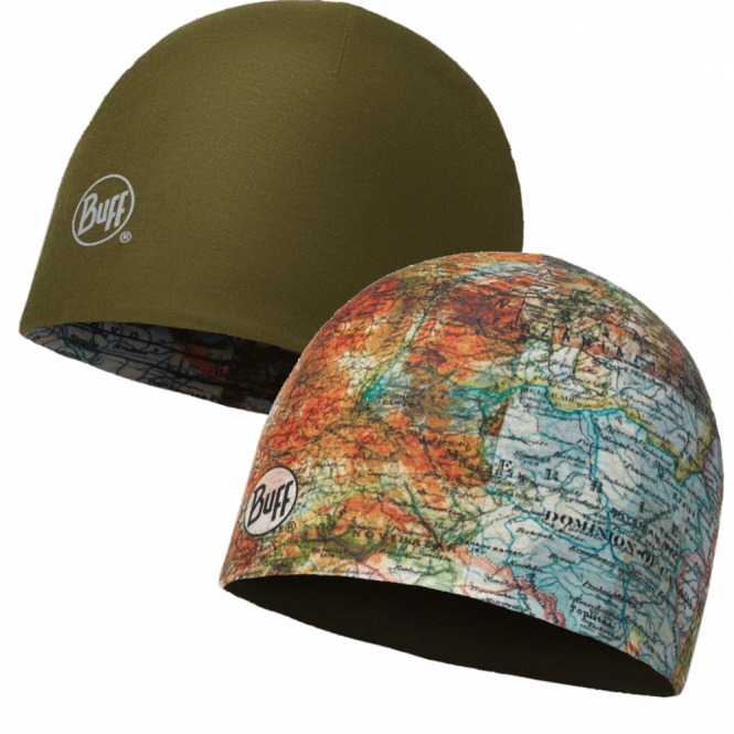 Buff Reversible Microfiber Hat Itinerary Multi/Beech, ideal for outdoor activities or a base layer to protect from the cold