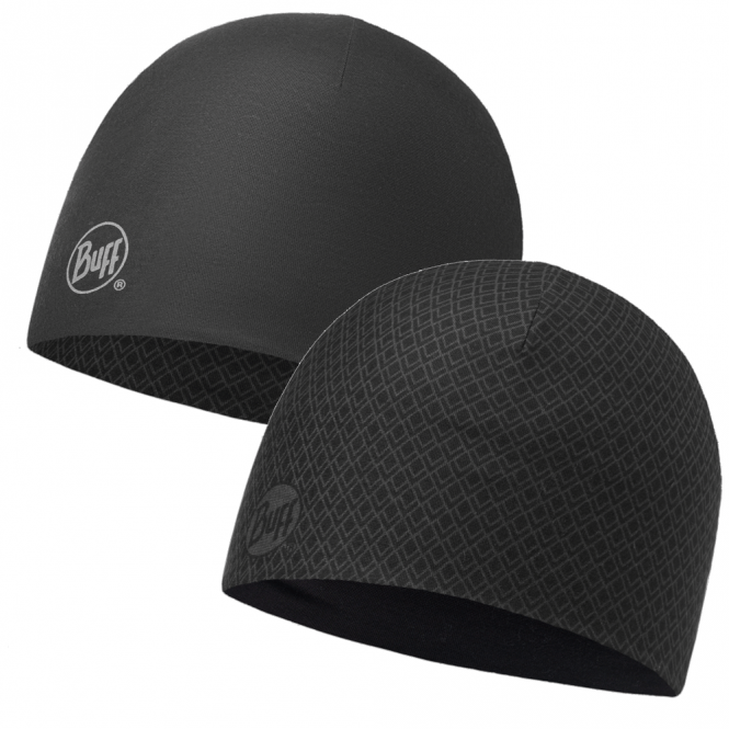 Buff Reversible Microfiber Hat Drake Black/Graphite, ideal for outdoor activities or a base layer to protect from the cold