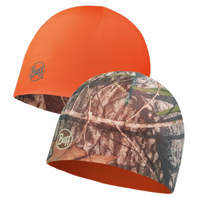 Buff Reversible Microfiber Hat Mossy Oak Obsession Military/Orange, ideal for outdoor activities or a base layer to protect from the cold