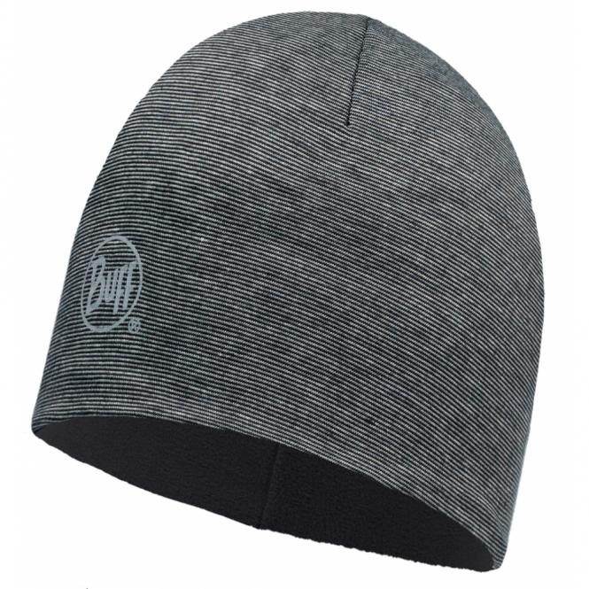 Buff Microfiber Polar Hat Grey Stripes/Black Fleece, warm and soft, ideal for winter activities