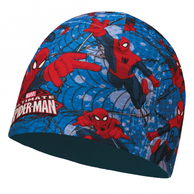 Buff Kids Spiderman Microfiber & Polar Fleece Hat Warrior Blue, warm and soft hat with fleece lining