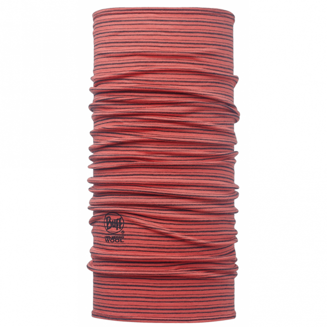 Buff Wool Buff Yarn Dyed Stripes Coral, Made from 100% Merino wool