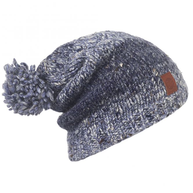 Buff Wool Blend Dryn Ensign Blue, Slouchy fit knitted bobble hat
